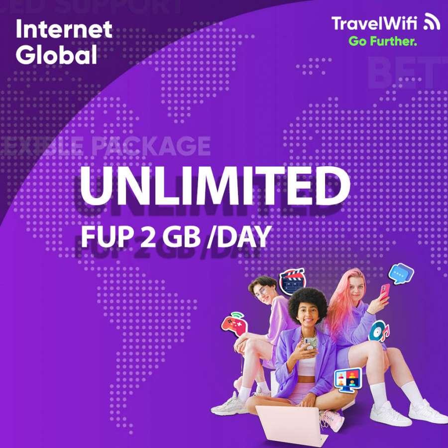 TravelWifi Internet Global UNLIMITED FUP 2GB